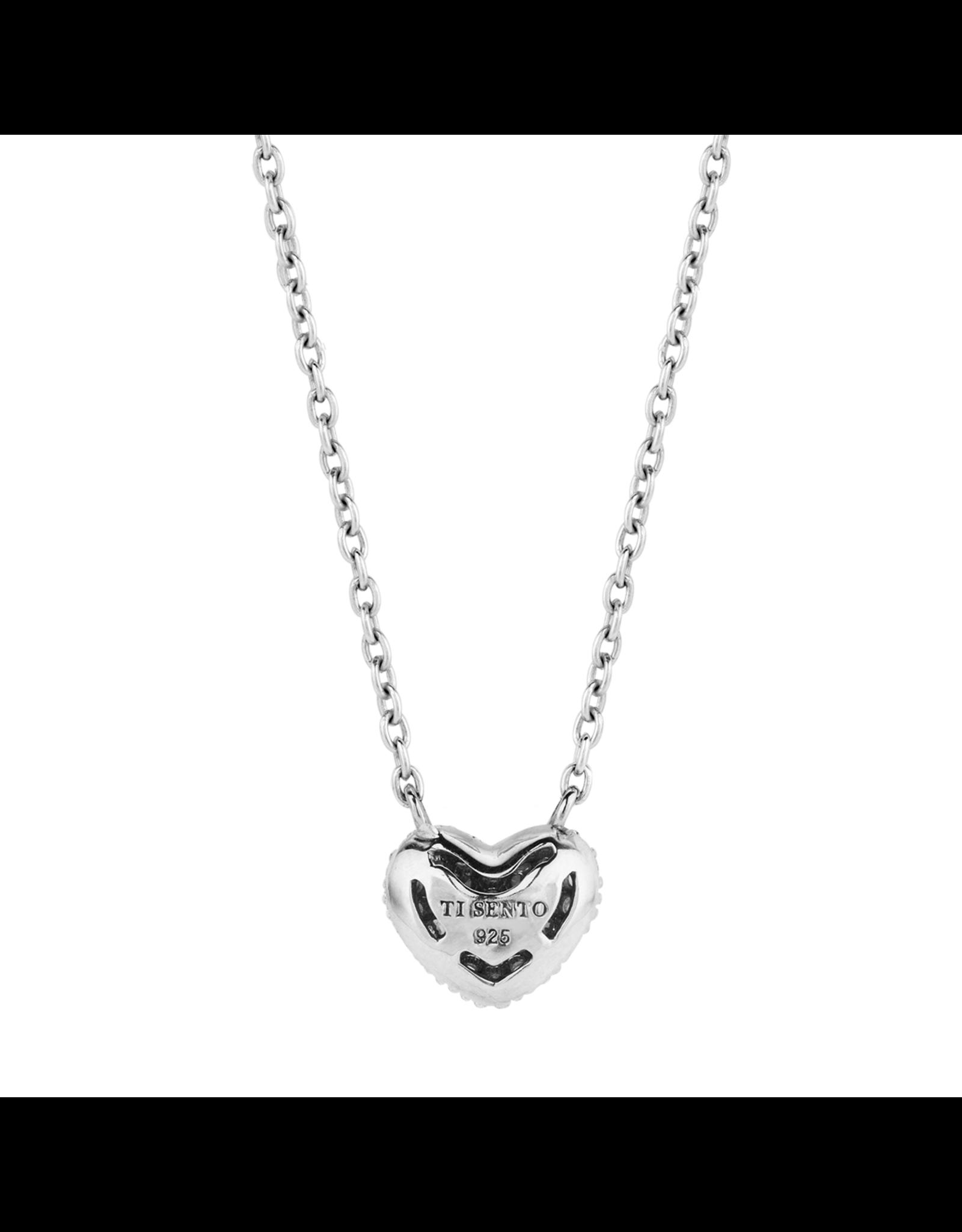 Petite Silver Zirconia Pave Heart Necklace- 3899ZI/42