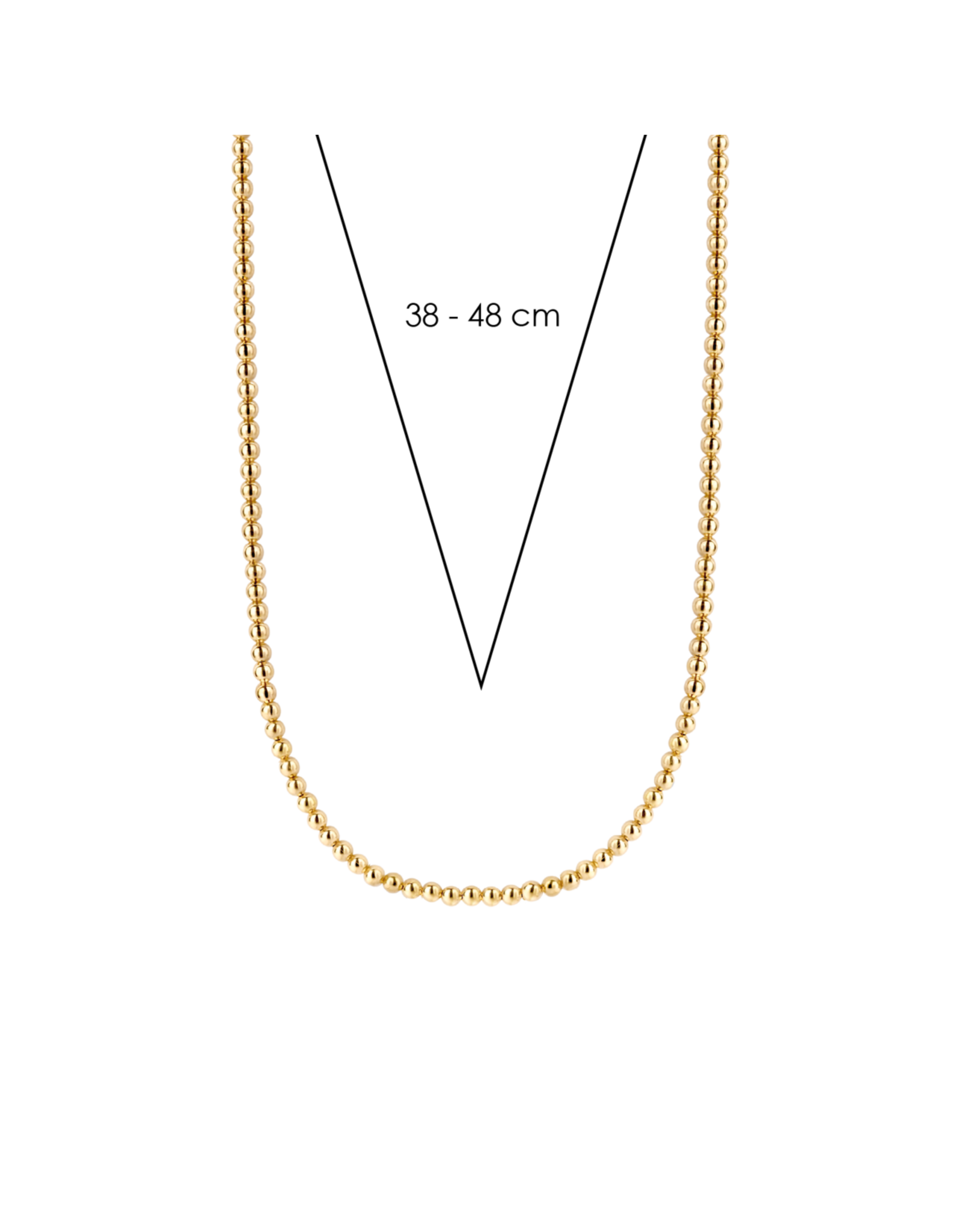 Yellow Gold Plated Beaded Necklace- 3931SY