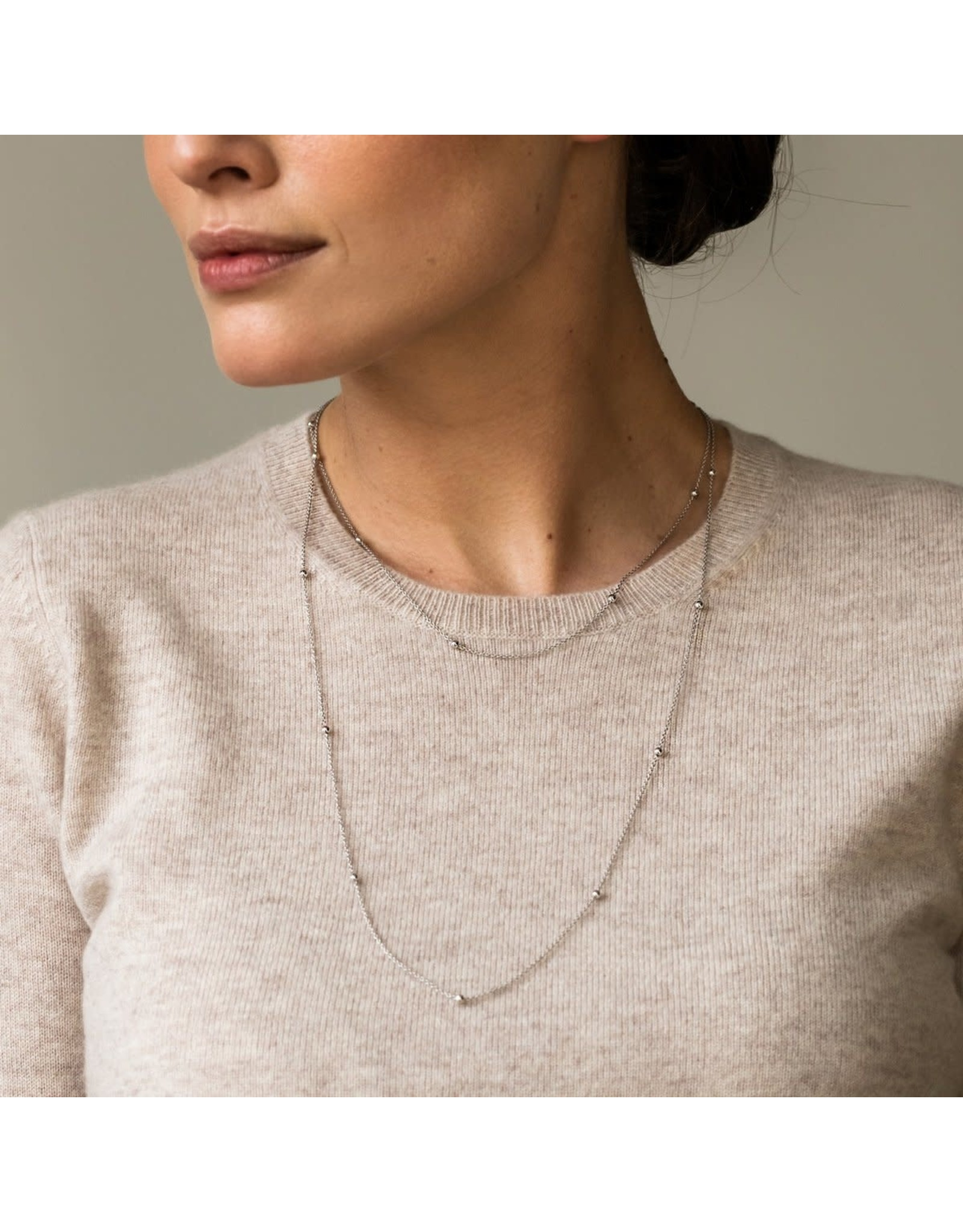 Two-tone Minimalist Necklace- 3934SY/42