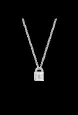 Silver Locket Necklace with Zirconias- 3936ZI/42