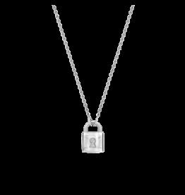 Silver Locket Necklace with Zirconias