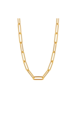 Large Yellow Gold Plated Paperclip Necklace- 3937SY/48