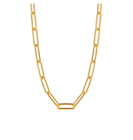 Large Yellow Gold Plated Paperclip Necklace
