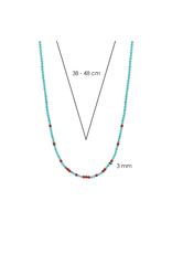 Turquoise and Coral Beaded Necklace- 3939TQ/42