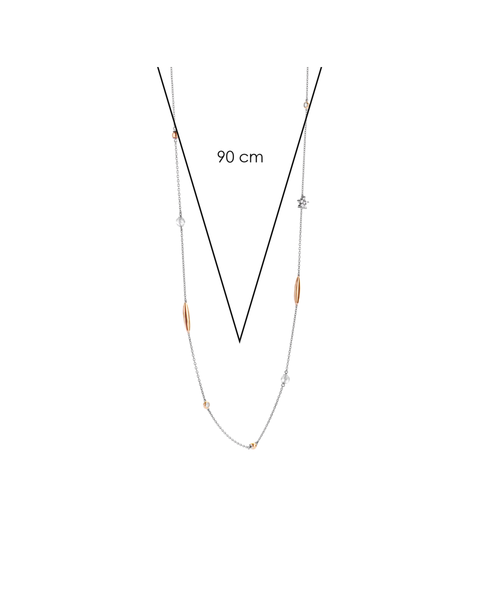 Rose Gold Accented Long Delicate Necklace- 3941ZR/90