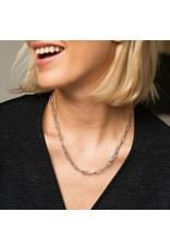 Small Link Silver Paperclip Necklace- 3947ZI/48