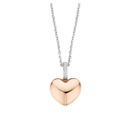 Rose Gold Plated Puff Heart Necklace