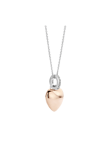 Rose Gold Plated Puff Heart Necklace- 6745SR
