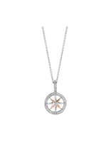 Small Two Tone Rose Gold Compass Pendant- 6769ZR