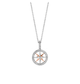 Small Two Tone Rose Gold Compass Pendant