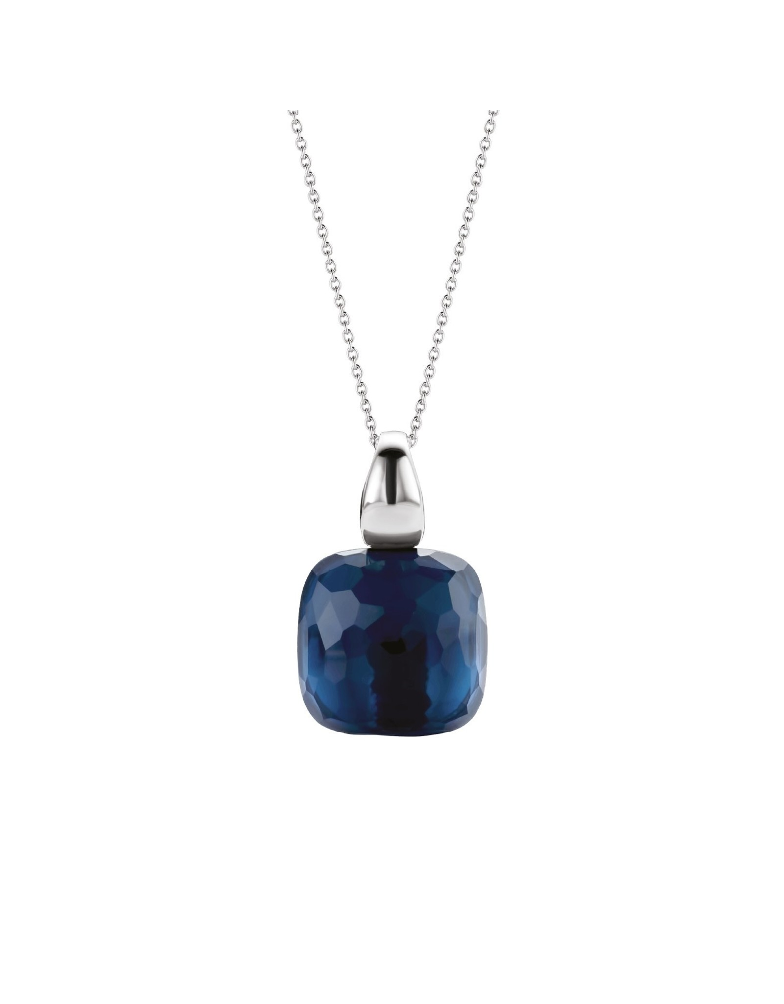 Large Dark Blue  Silver Pendant - 6786DB