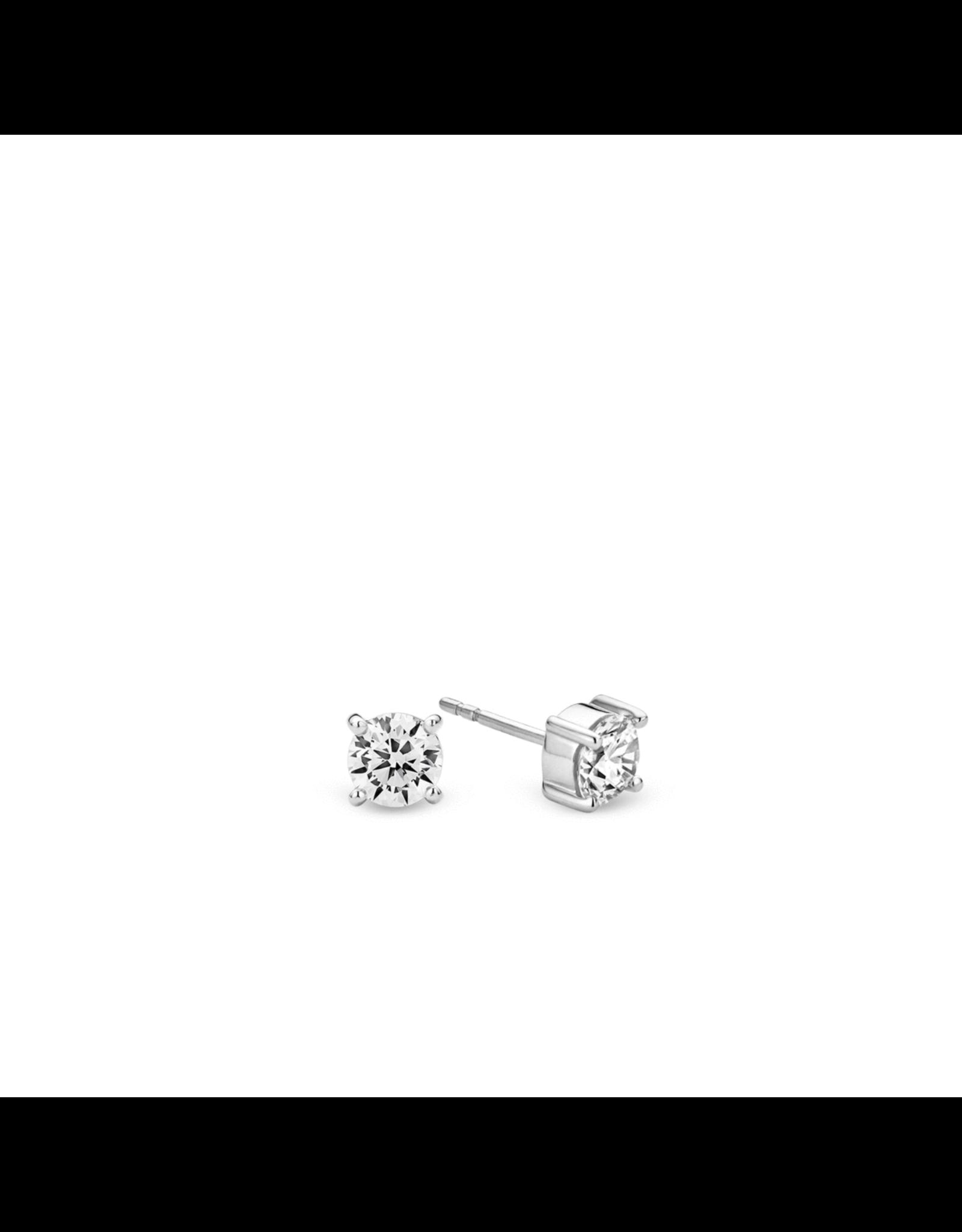 Chic Silver Zirconia Stud Earrings- 7319ZI