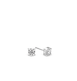 Chic Silver Zirconia Stud Earrings- 6mm