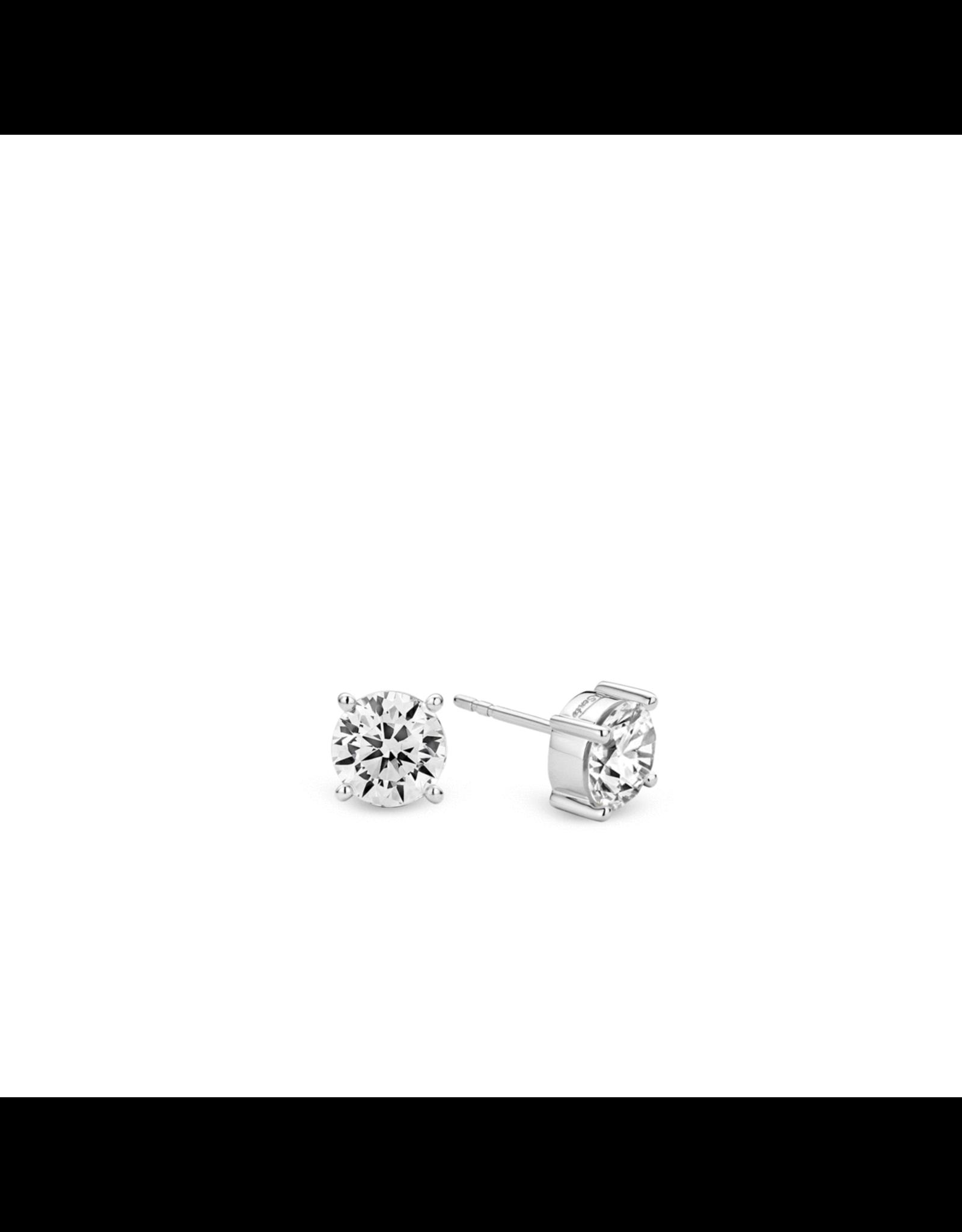 Chic Silver Zirconia Stud Earrings- 7321ZI