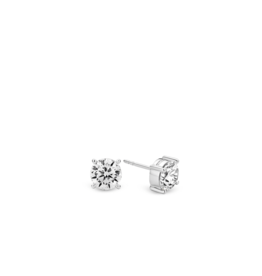 Chic Silver Zirconia Stud Earrings
