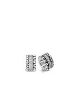 Triple Row Textured Chunky Silver Huggie Earrings- 7604ZI