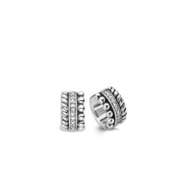 Triple Row Textured Chunky Silver Huggie Earrings