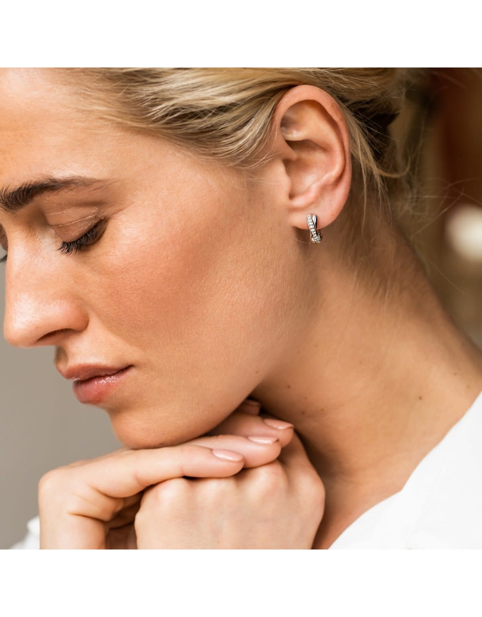 "Silver and Zirconia ""X"" Huggie Earrings- 7667"