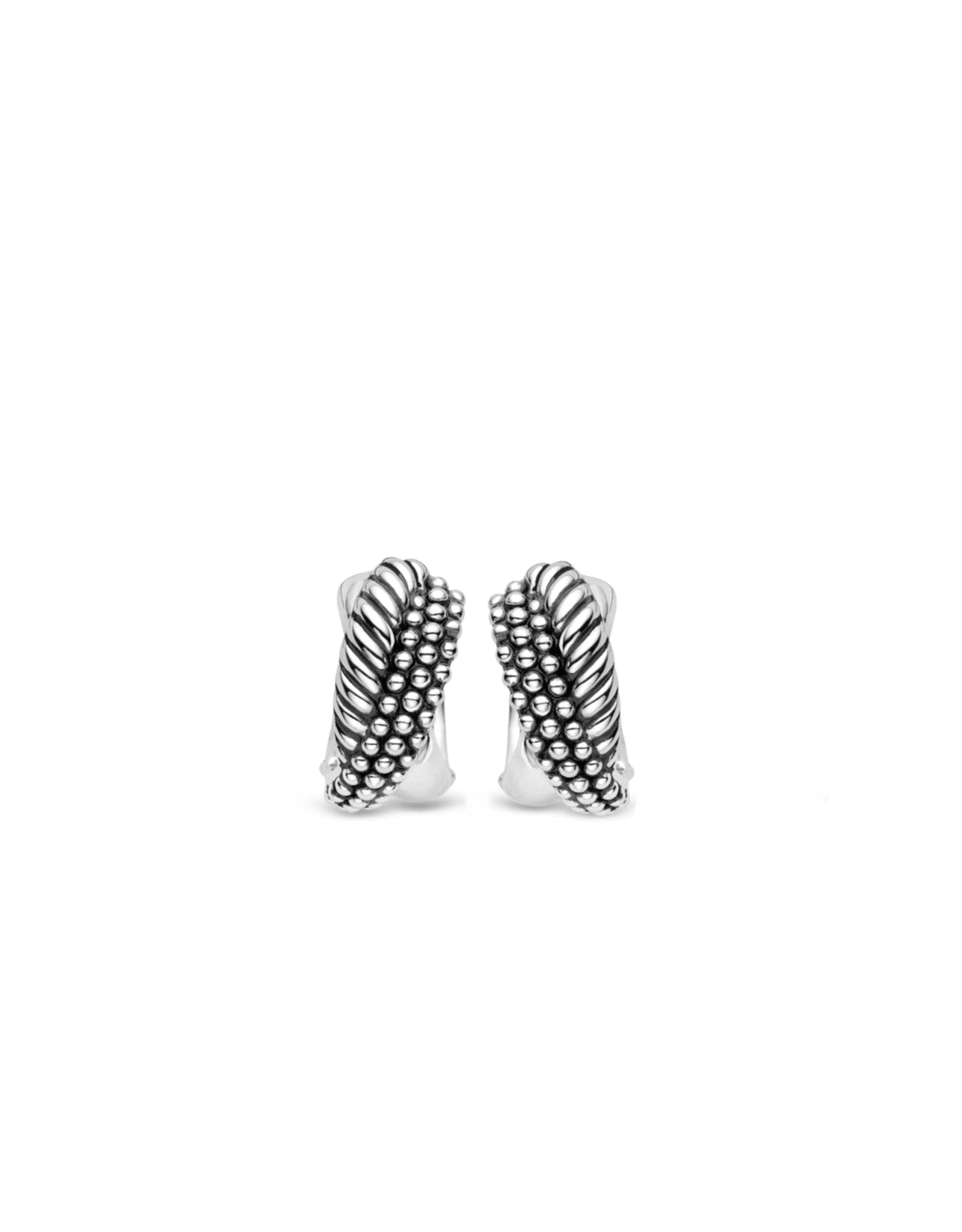 Silver Chunky Textured Huggie Earrings- 7692SB