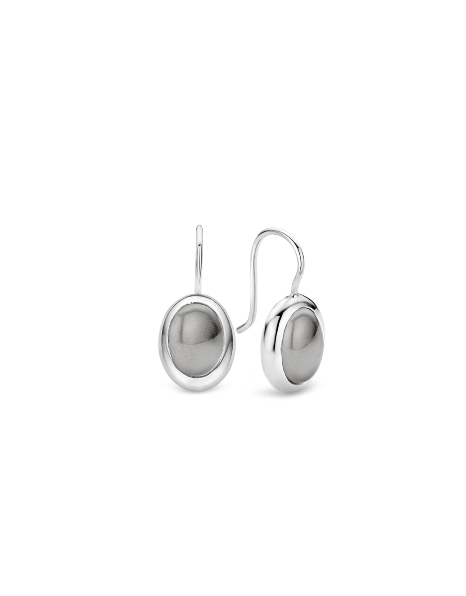 Silver Gray Cabochon Wire Earrings- 7709DB