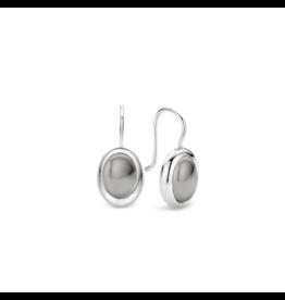 Silver Gray Cabochon Wire Earrings