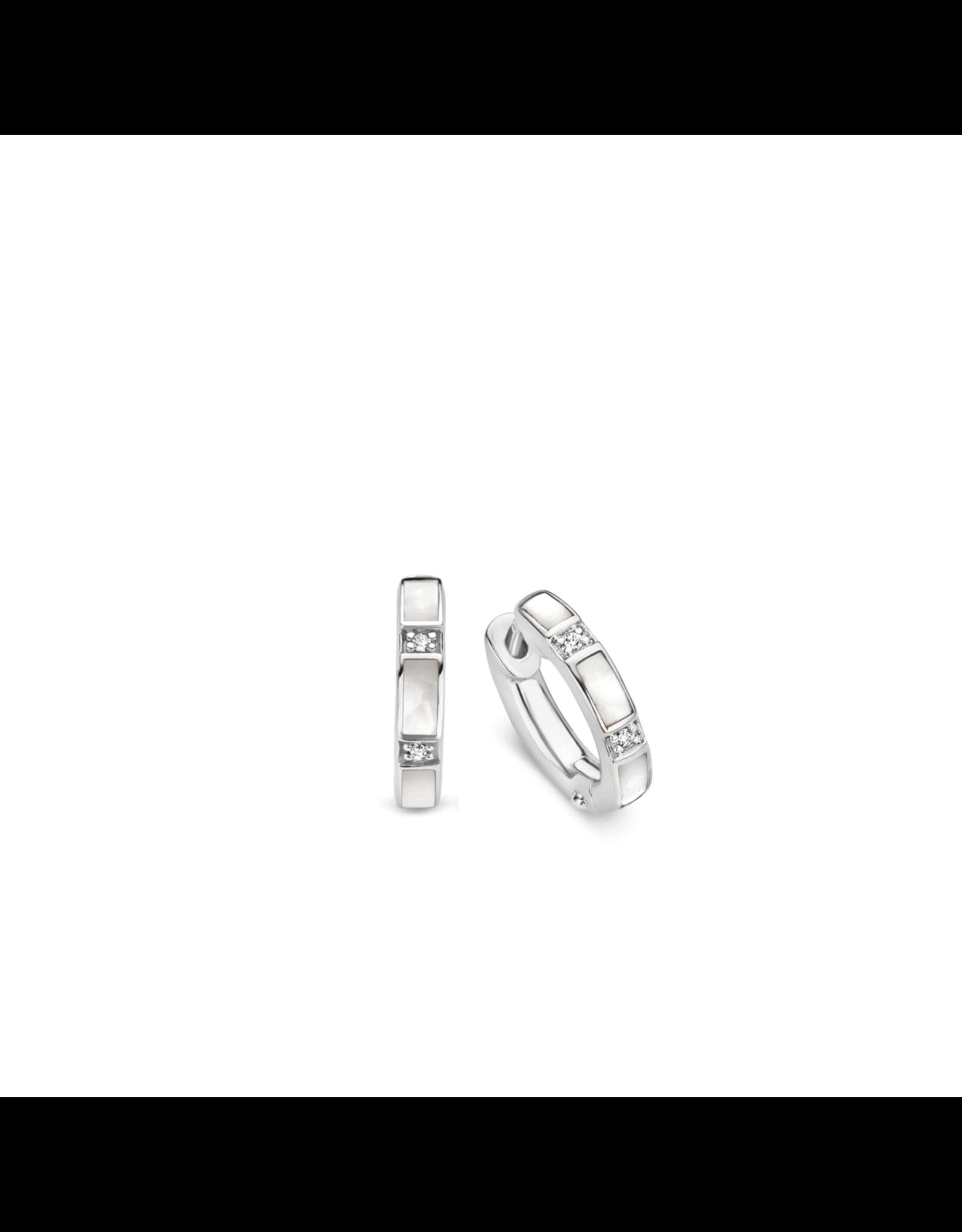 Silver Mother of Pearl Huggie Earrings- 7714MW