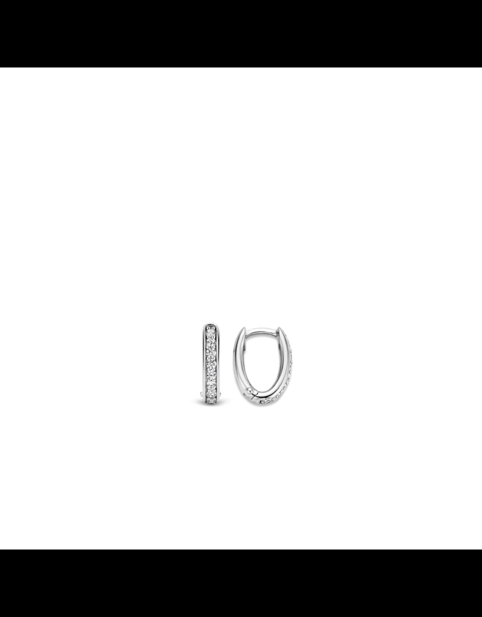 Classic Oval Shaped Zirconia Huggie Earrings- 7759ZI