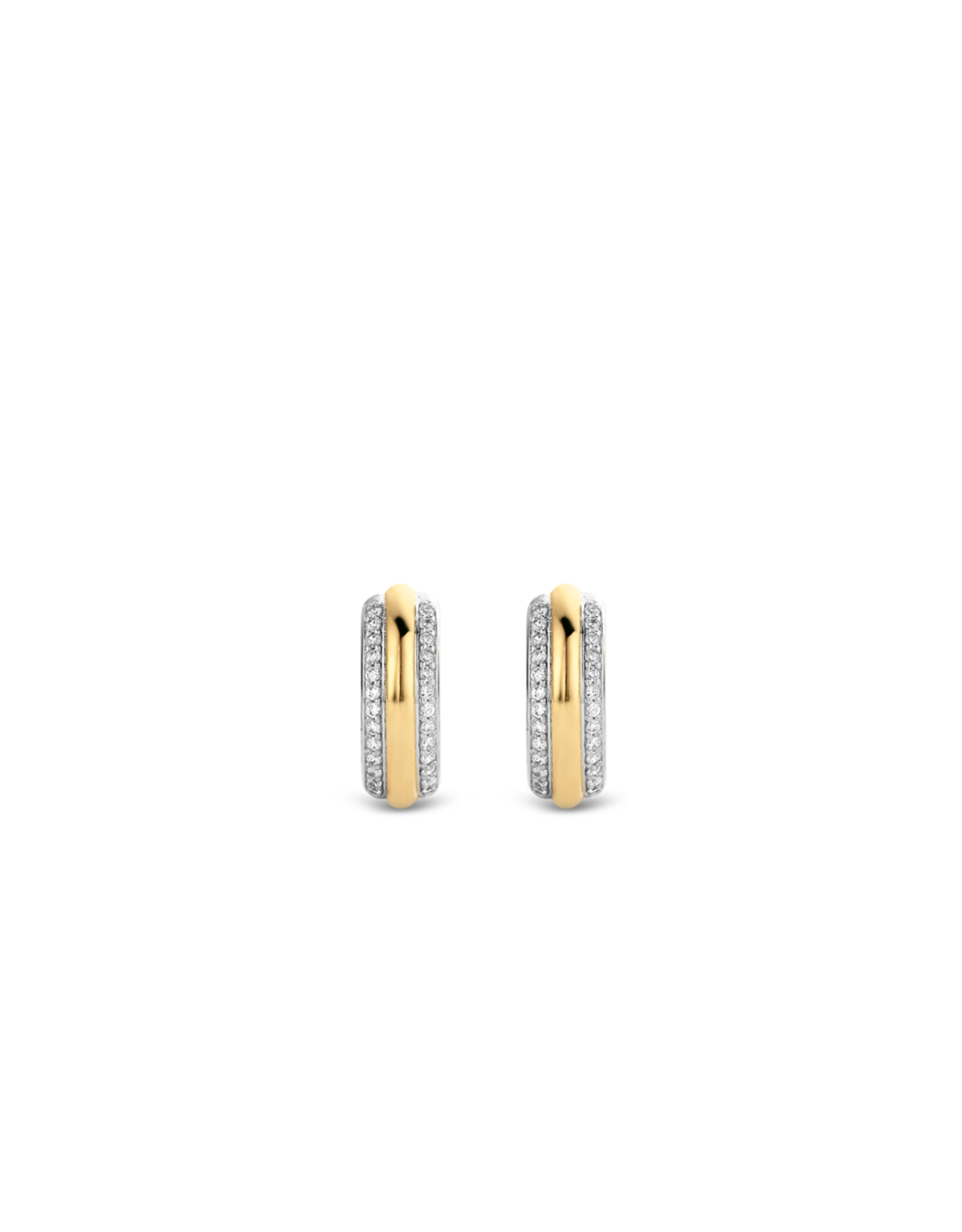 Two Tone Silver and Yellow Gold Plated Zirconia Huggies- 7786ZY