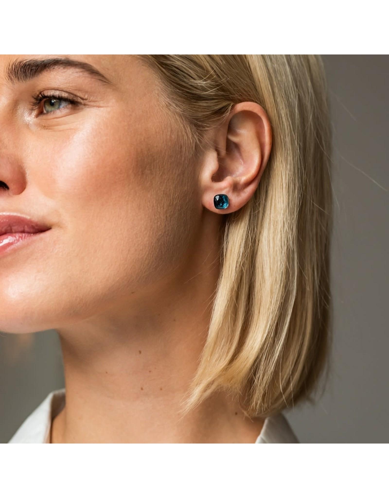 Dark Blue Stud Earrings (8mm)- 7814DB