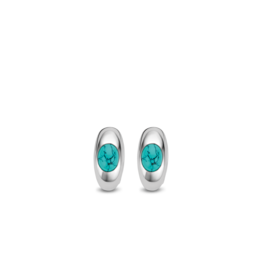 Sterling Silver Turquoise Huggie Earrings