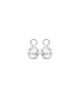 Faceted White Crystal Earring Charms