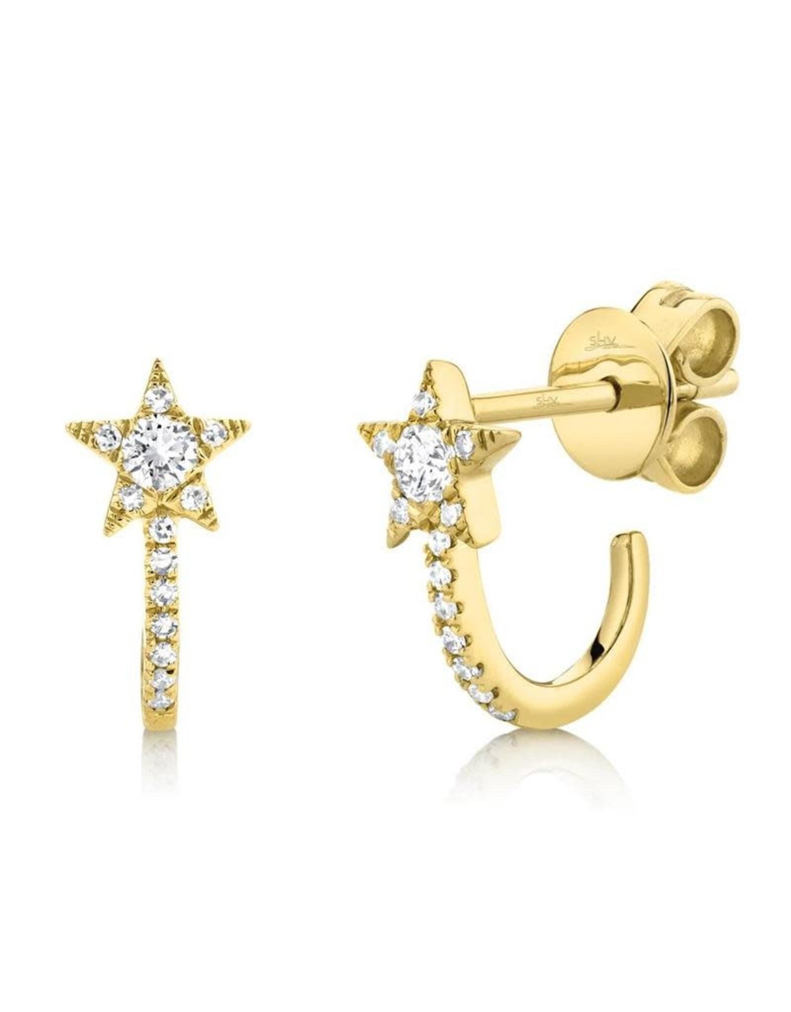 14K Yellow Gold Diamond Star Half Huggie Earrings, D: 0.17ct