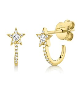 14K Y/G Diamond Star Half Huggie Earrings