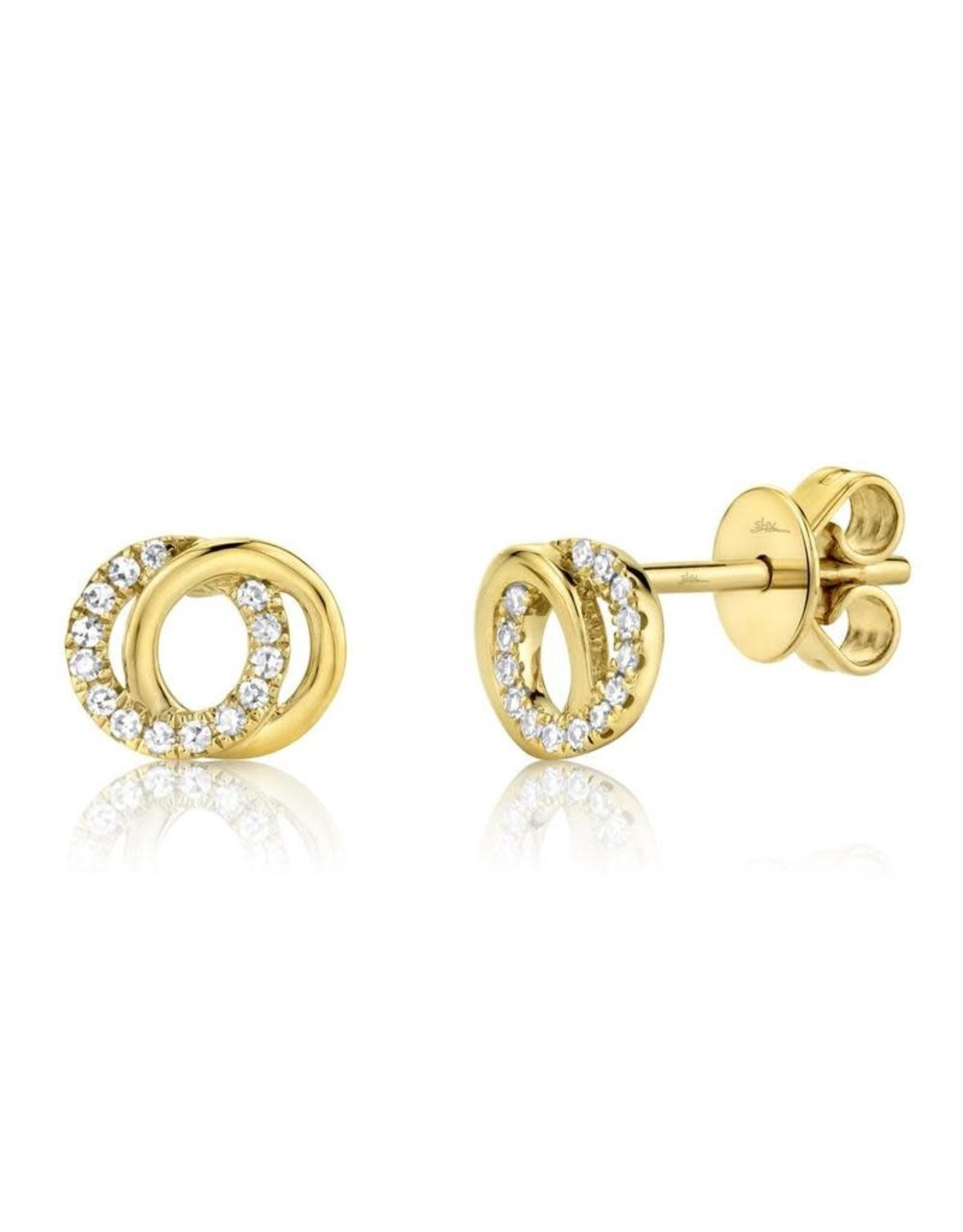 14K Yellow Gold Diamond Love Knot Stud Earrings, D: 0.09cts