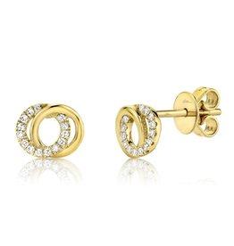 14K Y/G Diamond Love Knot Stud Earrings