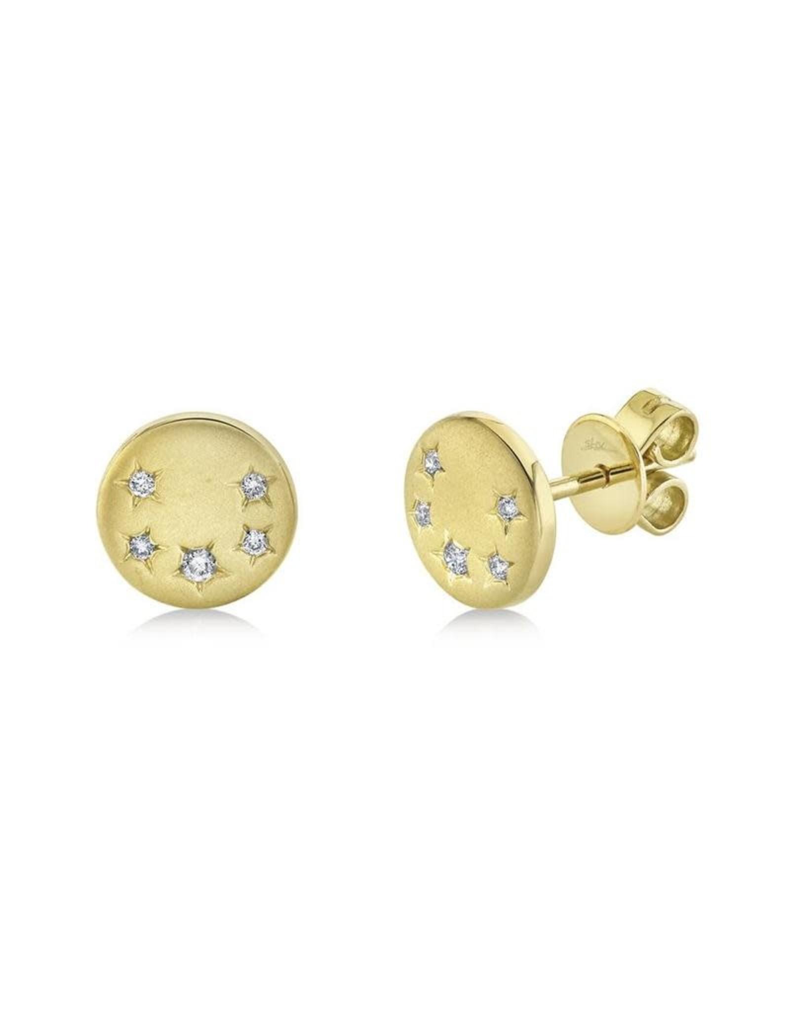 14K Yellow Gold Diamond Stardust Stud Earrings, D: 0.07ct