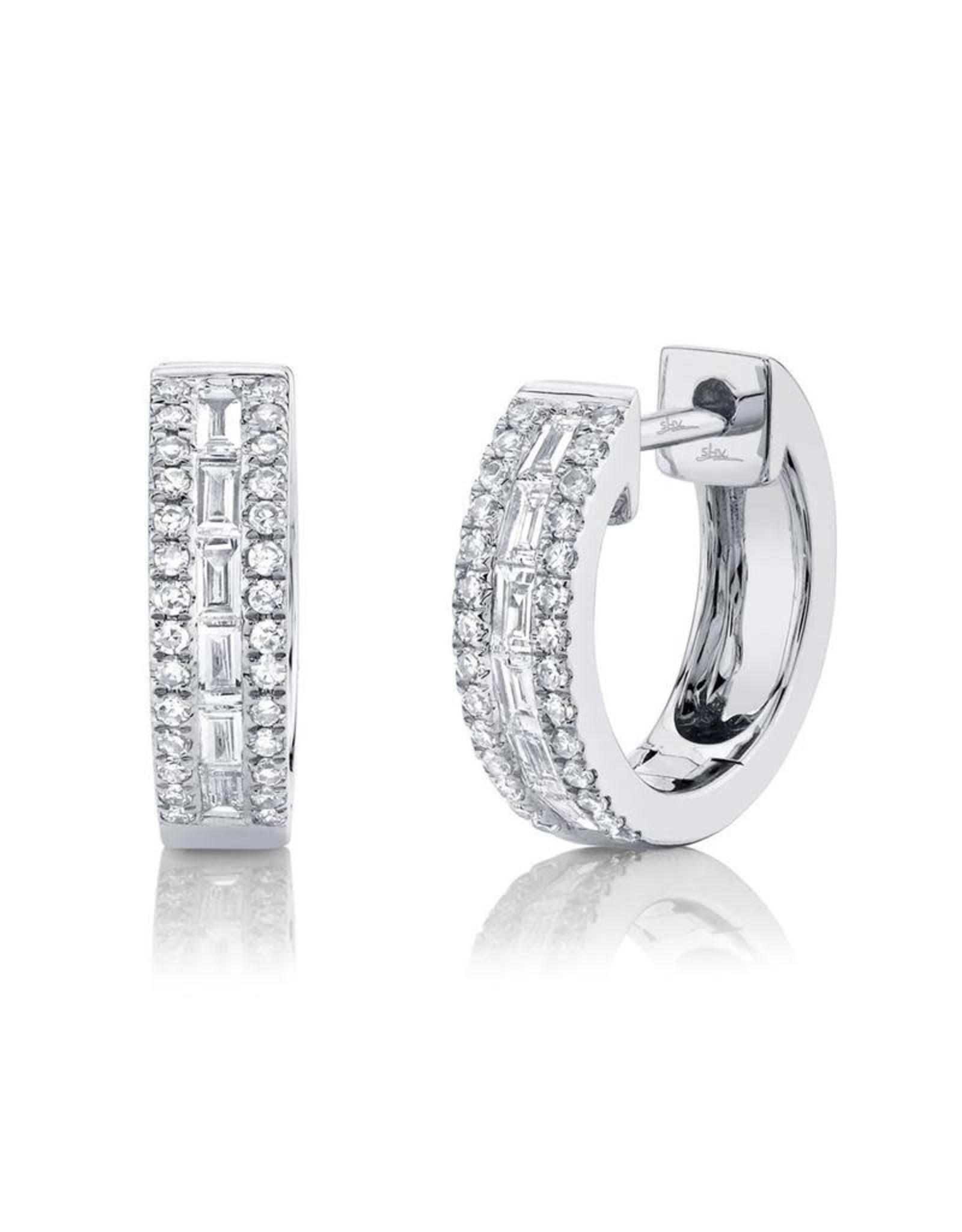 14K White Gold Diamond Baguette Huggie Earrings, D: 0.34ct