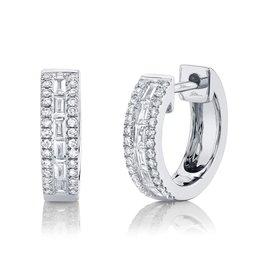 14K W/G Diamond Baguette Huggie Earrings