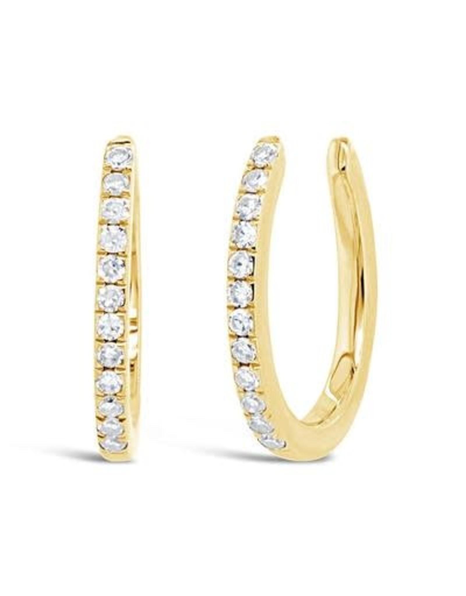14K Yellow Gold Diamond Earring Cuffs, D: 0.09ct