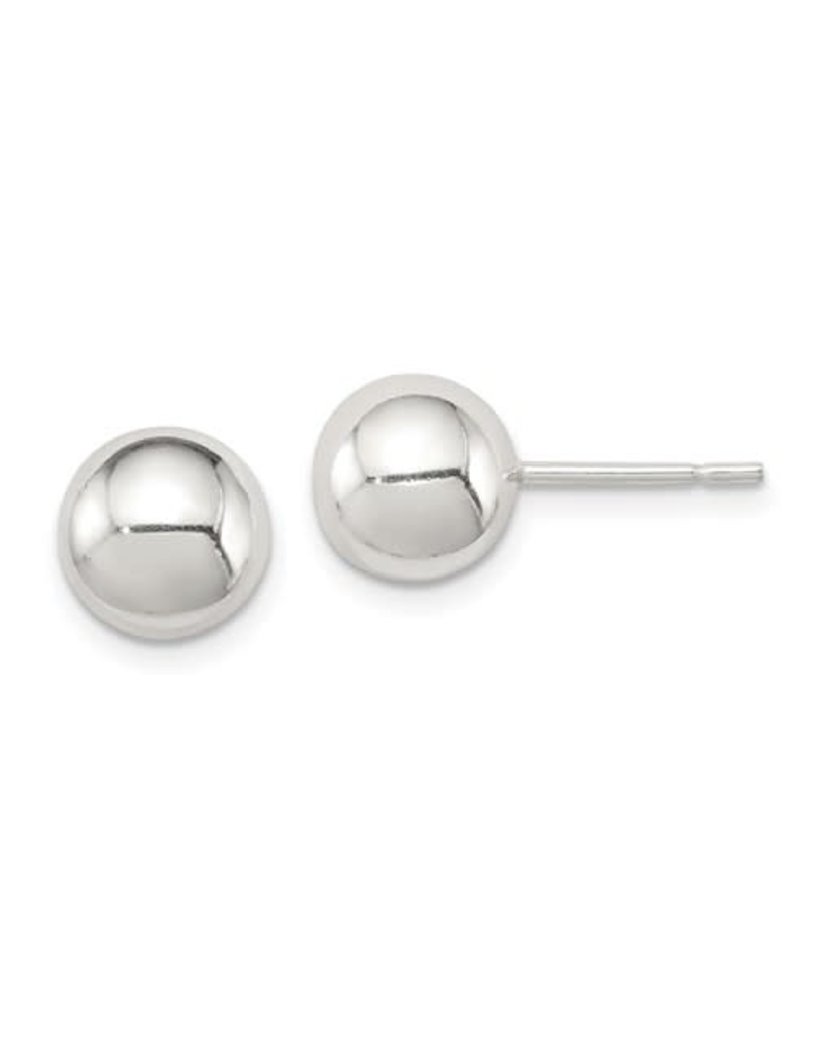 14K White Gold 8mm Ball Stud Earrings with Friction Backs
