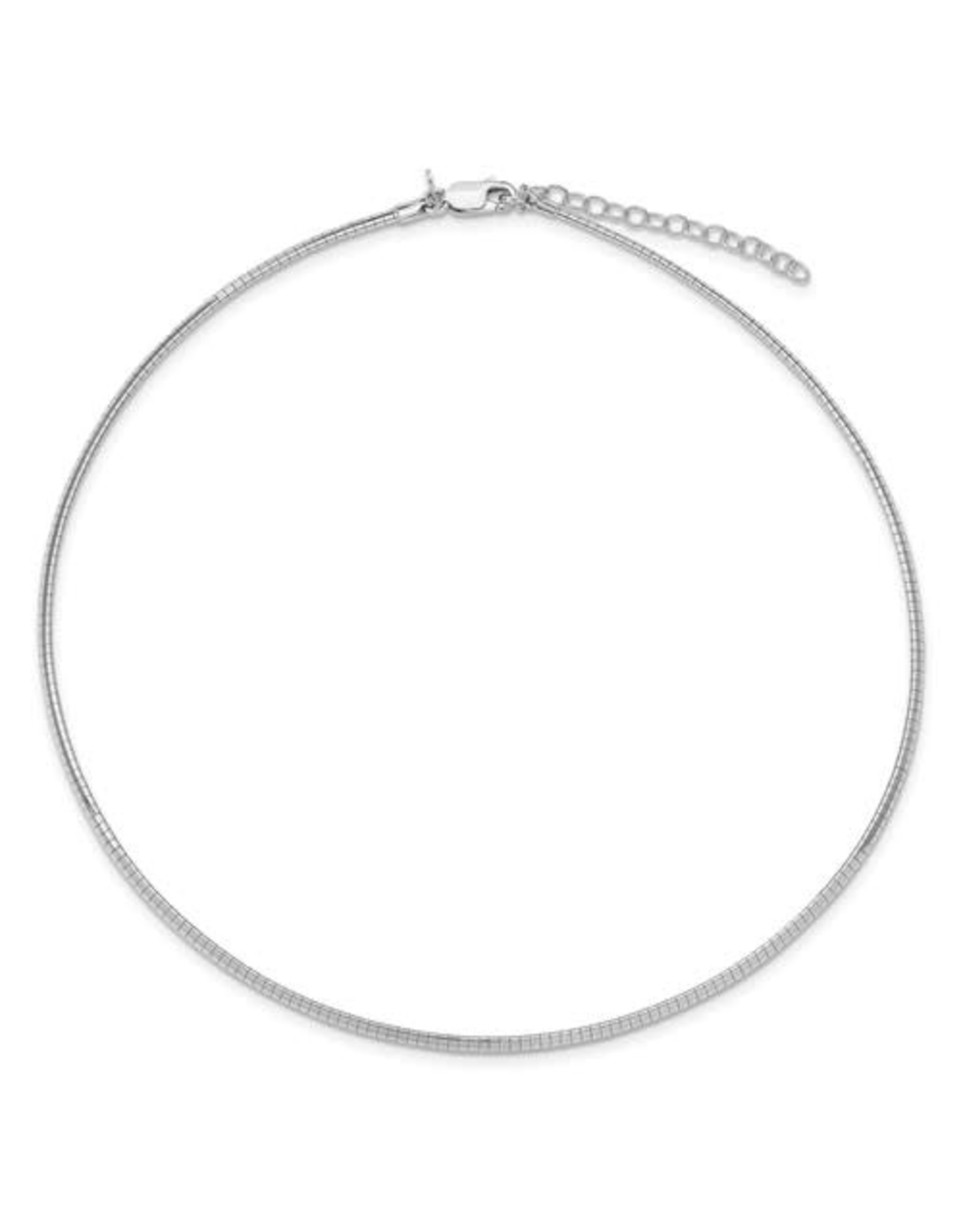 "Sterling Silver 2mm Flat Omega Necklace, 16"" + ext"