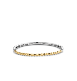 Thin Yellow Gold Plated Bubble Bangle