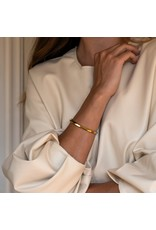 Yellow Gold Plated Geometric Faceted Bangle- 2942SY