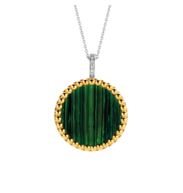 Double Sided Yellow Gold Plated Malachite Pendant