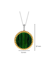 Double Sided Yellow Gold Plated Malachite Pendant- 6794MA