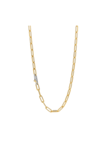 Small Yellow Gold Plated Paperclip Necklace- 3947SY/48