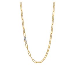 Small Yellow Gold Plated Paperclip Necklace