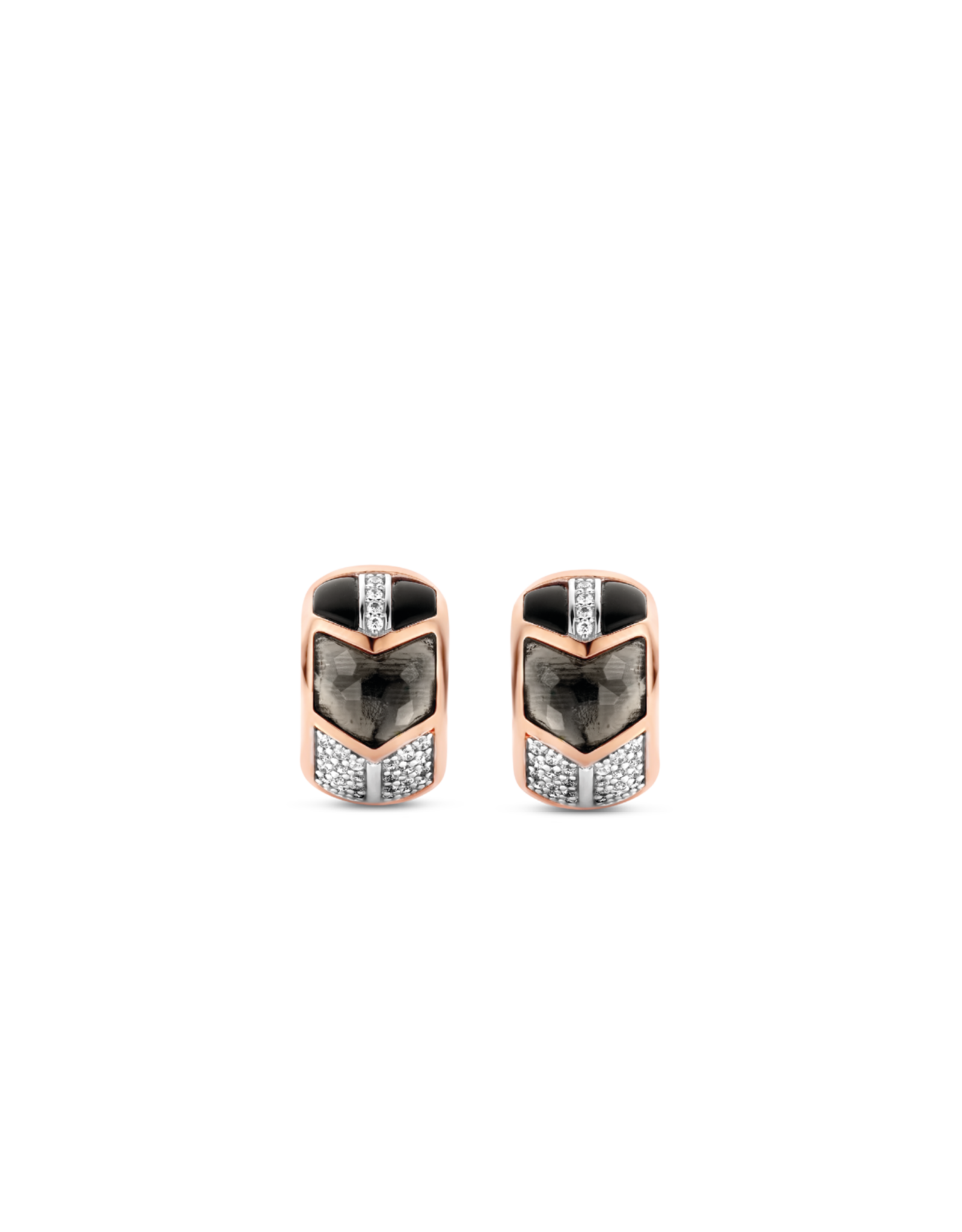 Art Deco Translucent Gray and Black Huggie Earrings- 7828GB