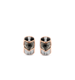 Art Deco Translucent Gray and Black Huggie Earrings