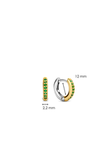 Yellow Gold Plated Emerald Huggies- 7811EM